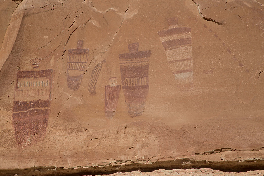 Ancient drawings in the Great Gallery in Horseshoe Canyon in Canyonlands National Park, Utah