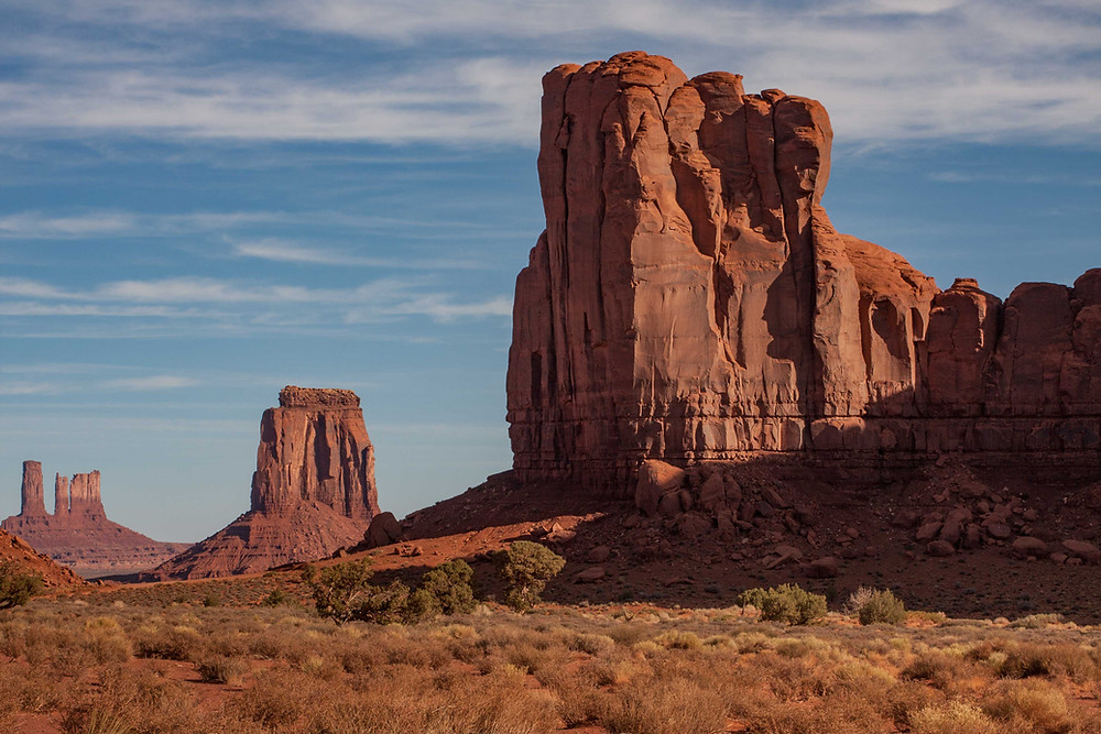 The Monuments in Monument Valley are made up of three different layers of sandstone