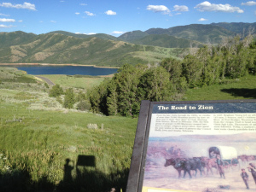 Historical plaque at the top of Little Mountain tells the story of the Mormon Pioneers Journey to Zion