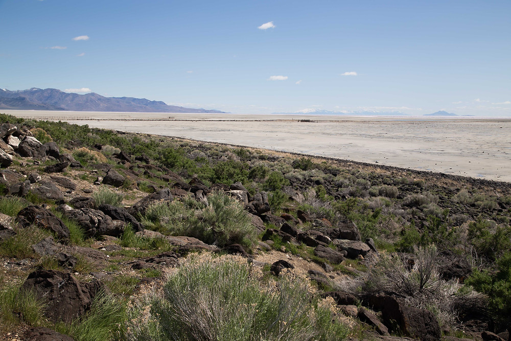 View looking towards Promontory Point and where the Transcontinental Railroads met near the Spiral Jetty at Rozel Point, Utah