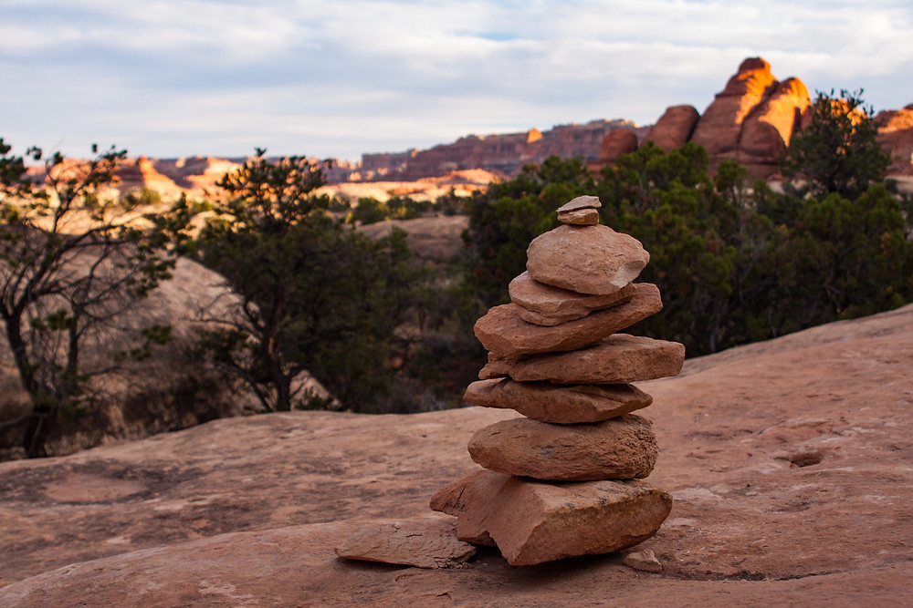 Rock Cairns are used to help hikers find their way on the trails in the Needles District of Canyonlands, Utah