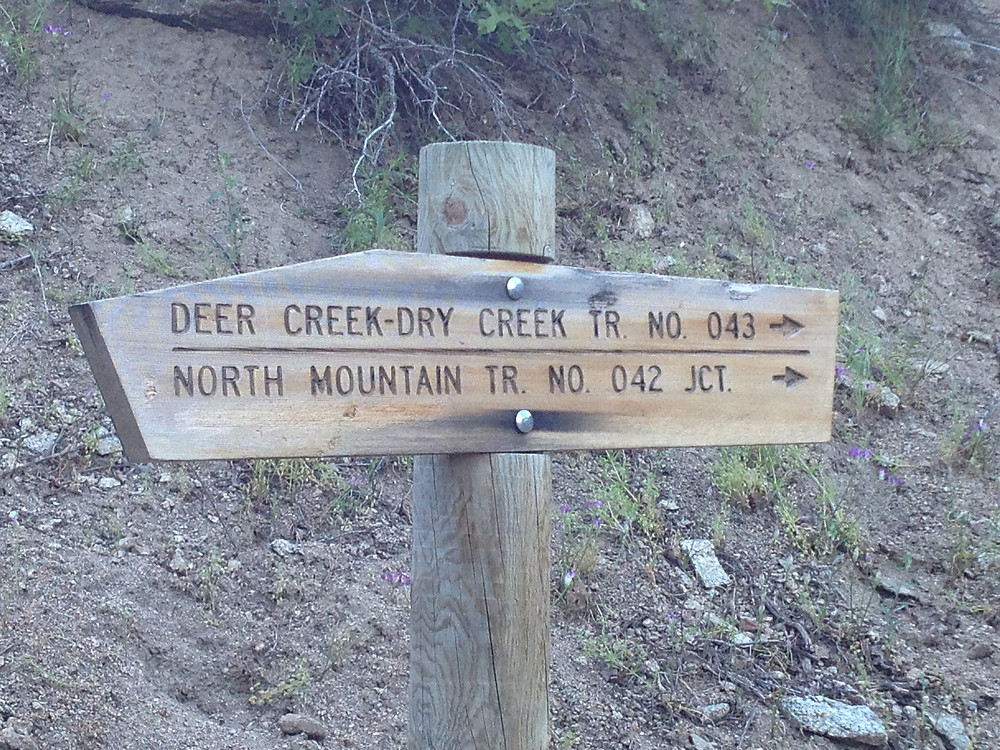 Trail sign on Dry Creek Trail