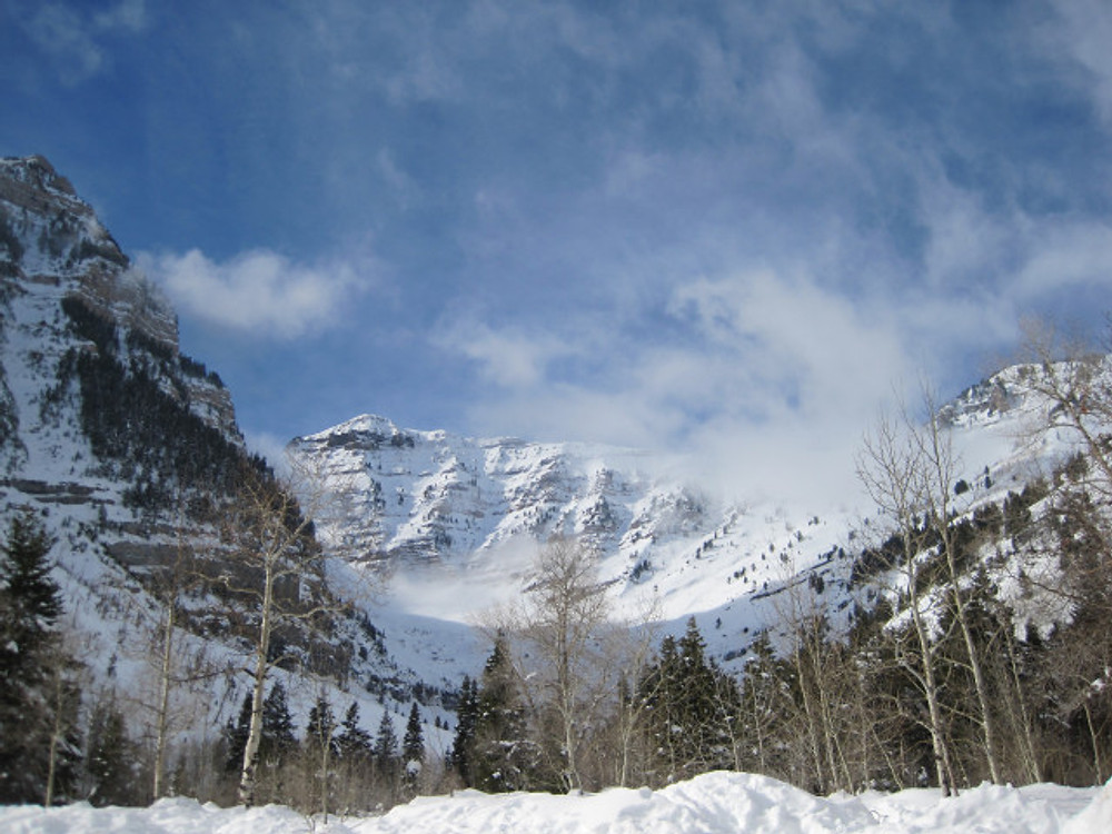 View of Mount Timpanogos from the parking lot at Aspen Grove