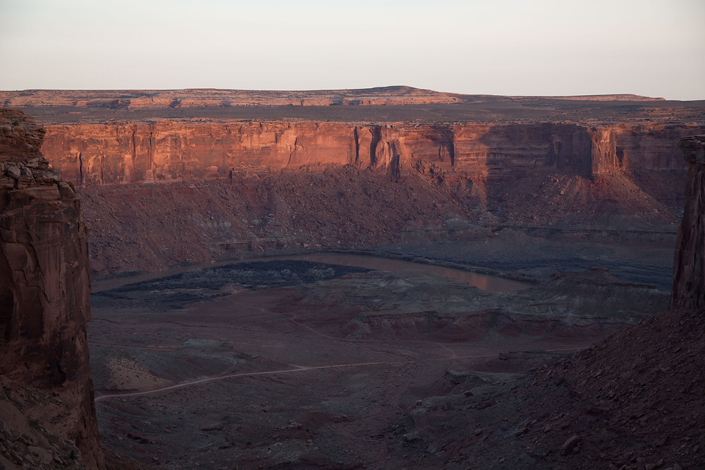 View from the White Crack Campground on the White Rim Trail in Canyonlands National Park, near Moab Utah