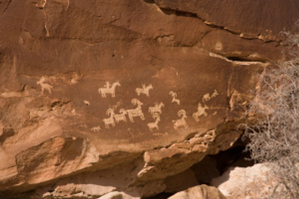 Wolfe Ranch Panel - Hunting Party, Ute Indian Rock Art