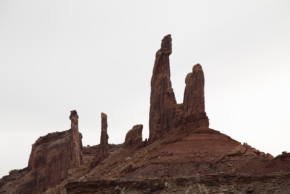 The Moses and Zeus Rock formation are 5 miles up Taylor Canyon off of the main White Rim Trail in Canyonlands National Park Island in the Sky