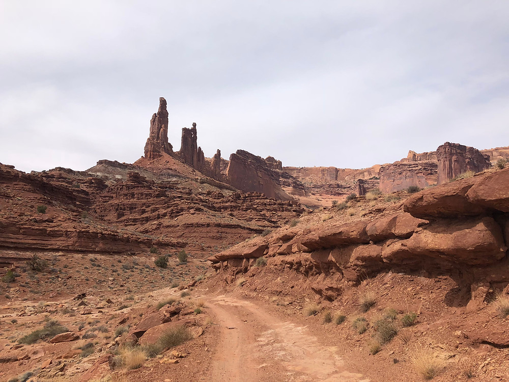 The White Rim is a biking and 4x4 trail in Canyonlands, Island in the Sky near Moab Utah