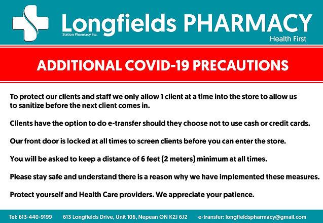 COVID-19 Longfields Pharmacy Precautions
