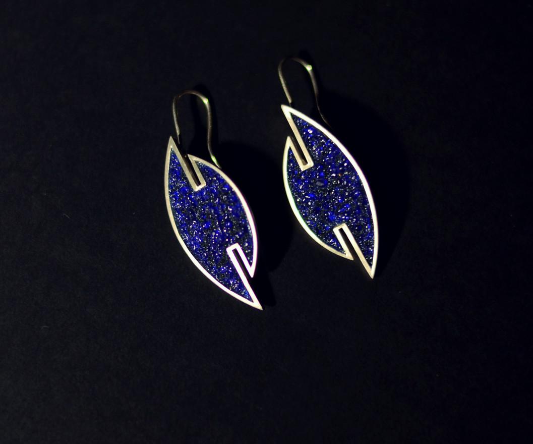 Earrings - silver, enamel