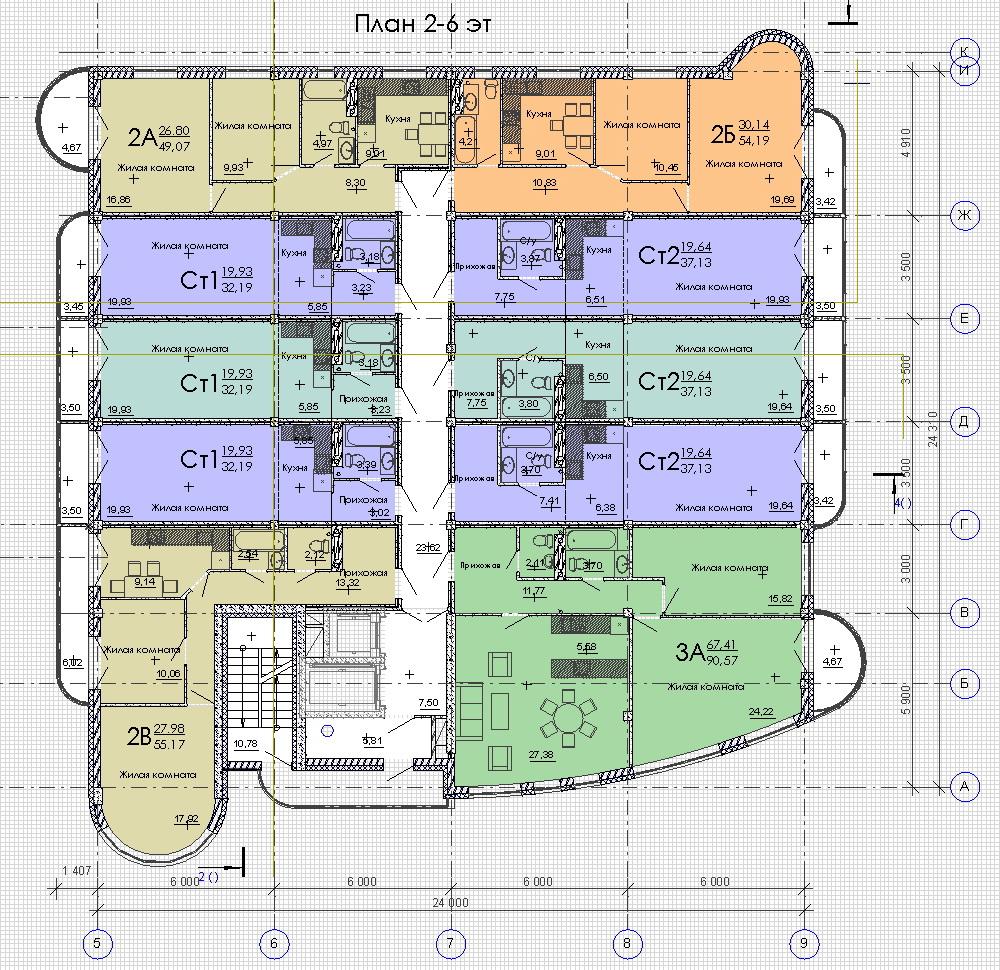 План 2-6 этажей