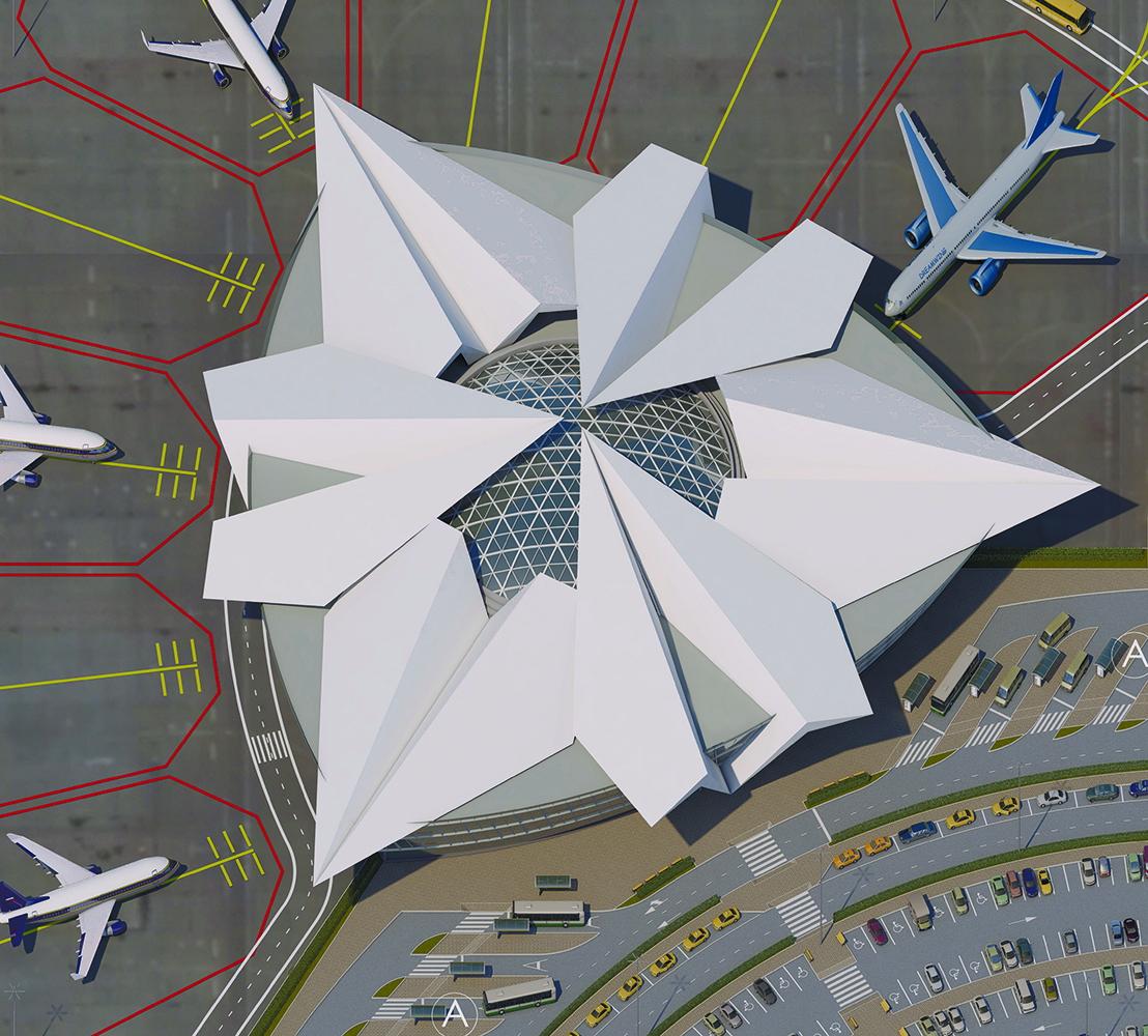 Купол аэровокзала сверху