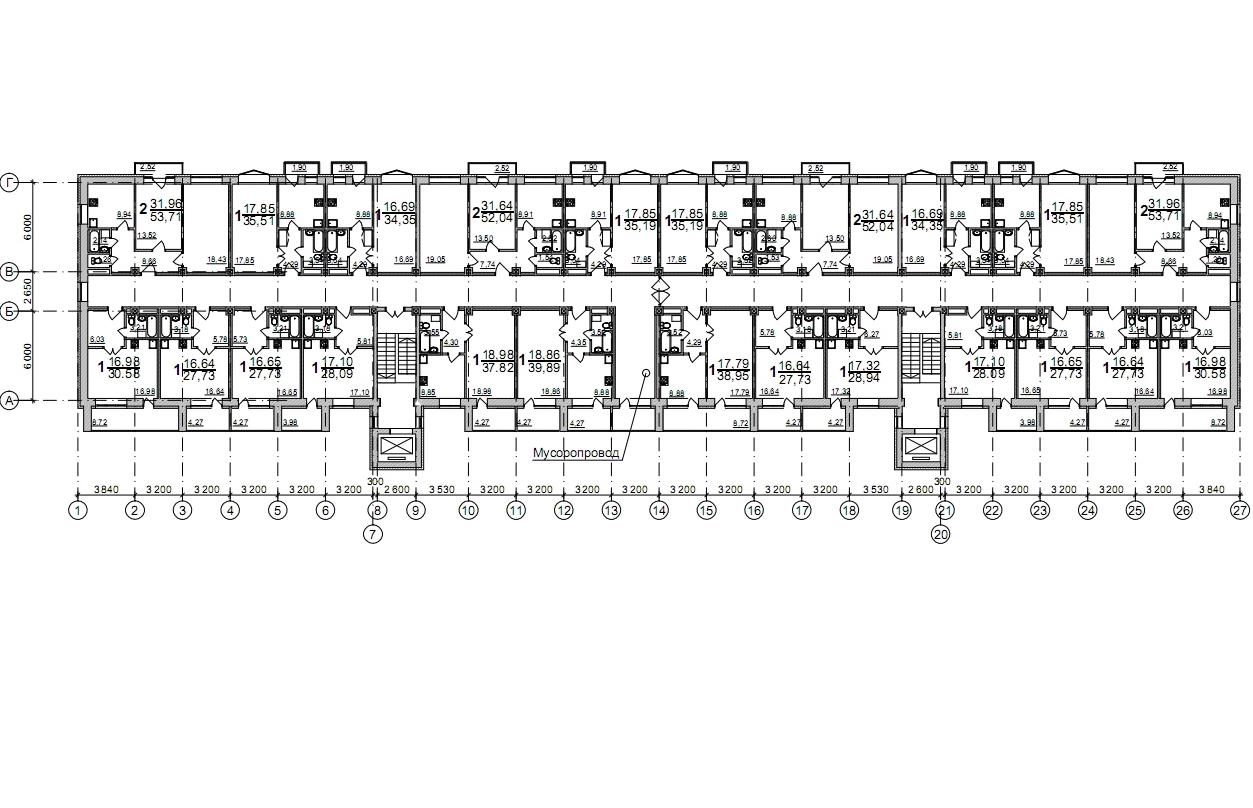 Залесского,5,  план 2-5 этажей