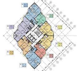 План 2-22 этажей