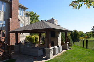 Gazebo, Fireplace, Built-in Grill, Brick Island, Brick Patio, Unilock