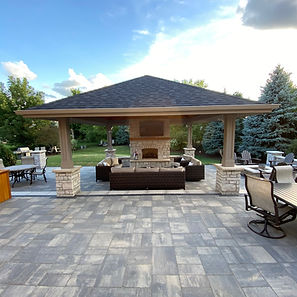 Gazebo, Fireplace, Firepit, Unilock, Natural Stone