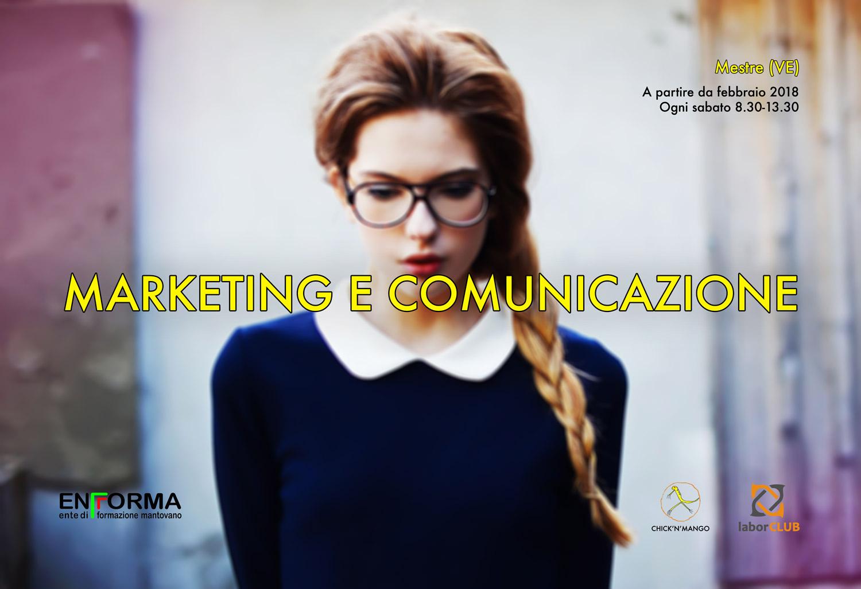 """Flyer promozionale del corso """"Marketing e comunicazione"""""""