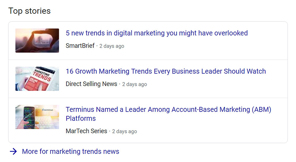 Top stories rich snippet example