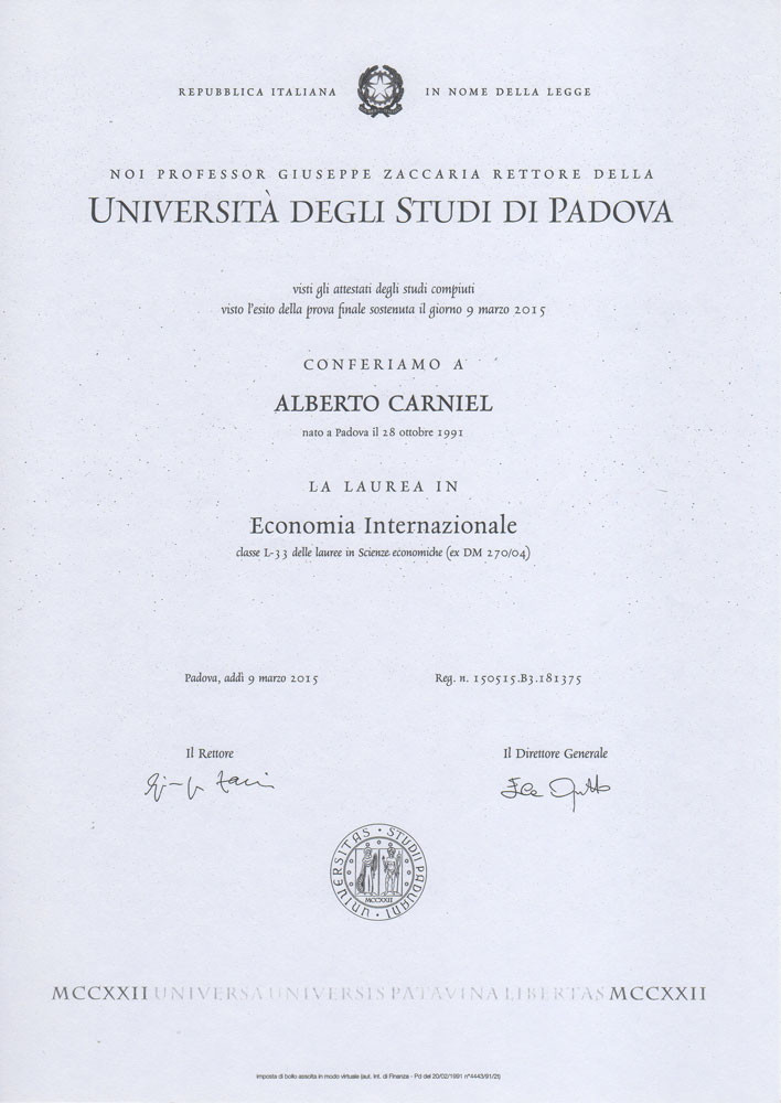 This is a copy of the University of Padua's degree in International Economics attained in 2015 by Alberto Carniel.