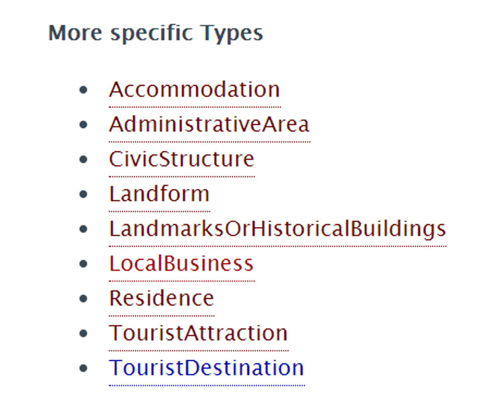 More specific types of place