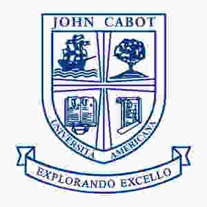 John Cabot University's logo on a white background. This is the JCU's shield with its latin motto: Explorando Excello.