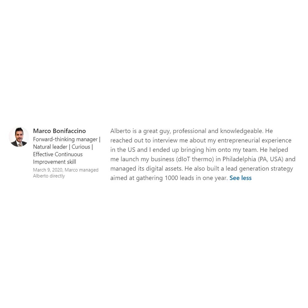 Marco Bonifaccino LinkedIn review