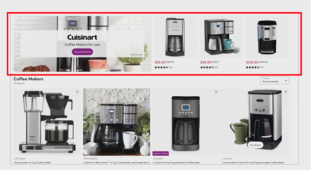 Wayfair Sponsored Shops with multiple products