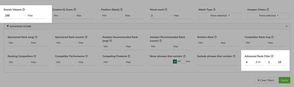 Cerebro Amazon keyword research filters