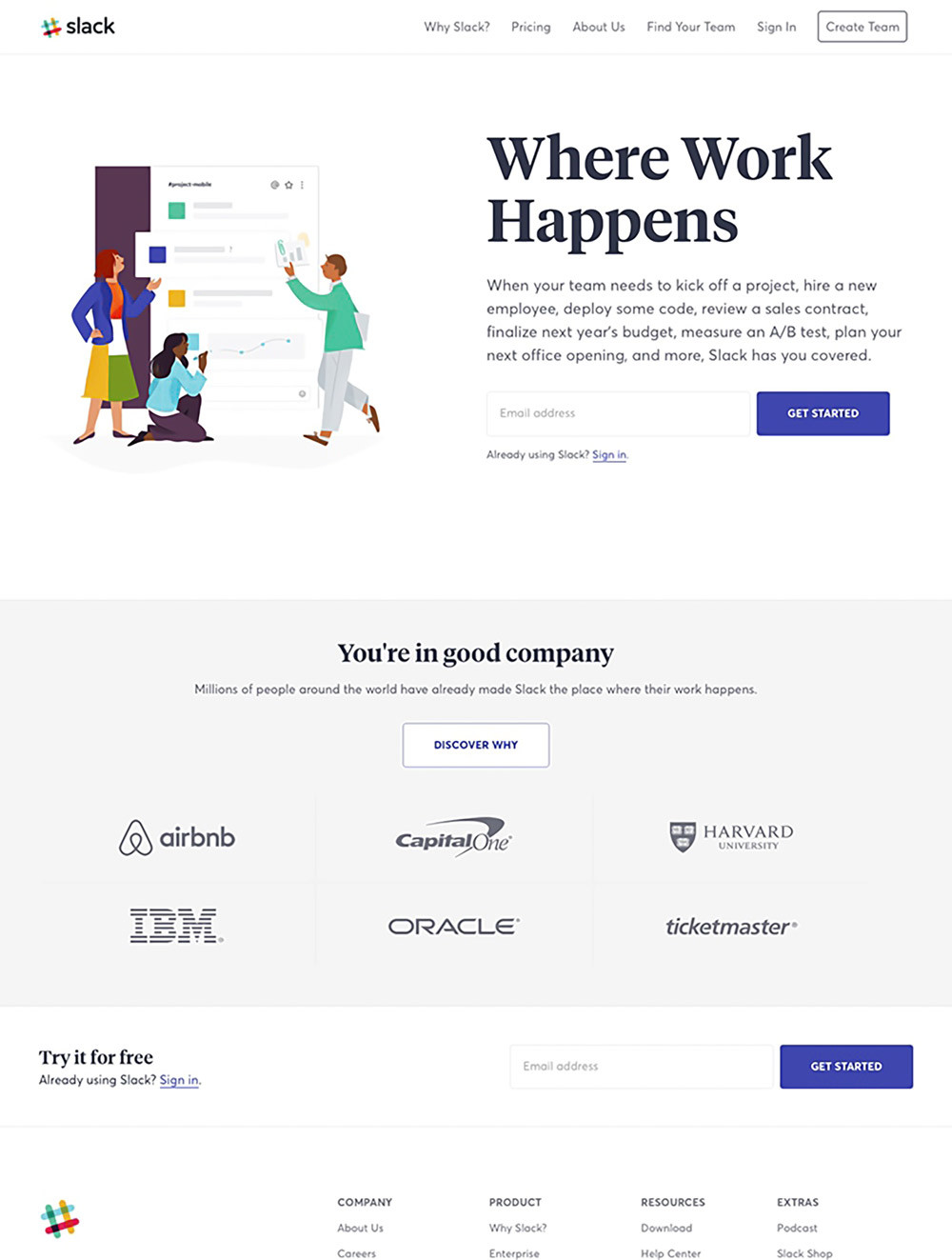 Slack's landing page example