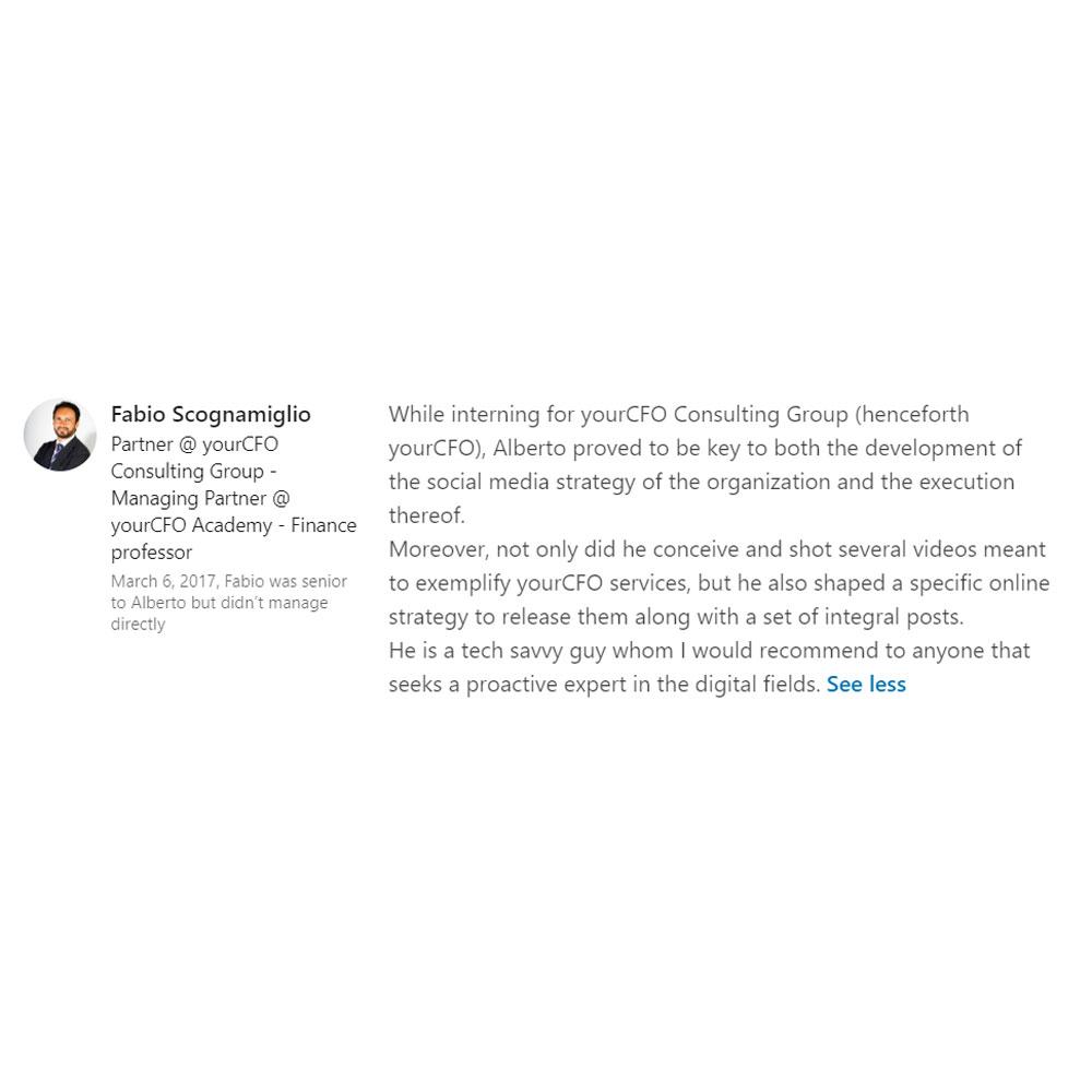 Fabio Scognamiglio LinkedIn review