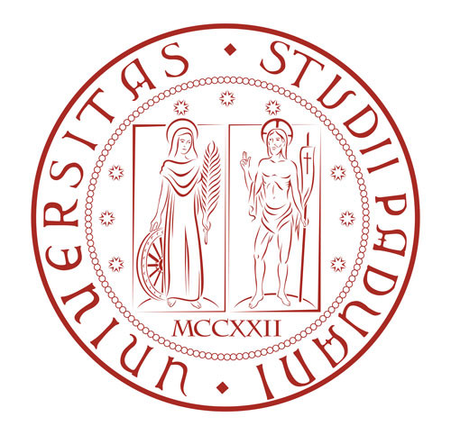 Logo of the University of Padua on a white background. All around the circular shield's borders there is the latin insciption: Universitas Studii Paduani.