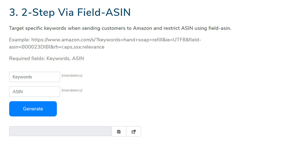 Amazon super-URL generator via field-ASIN