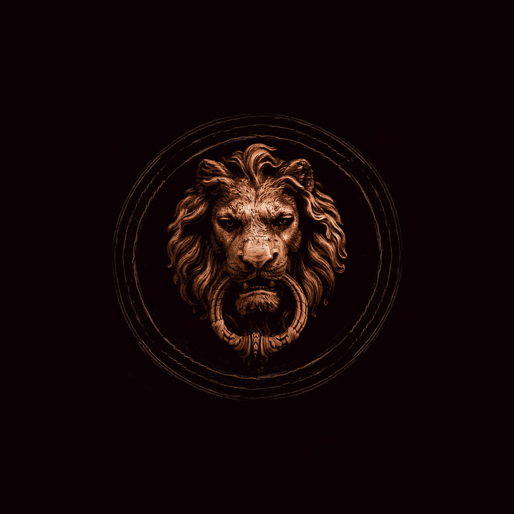 Modenese Gastone square logo: gold lion on a black background