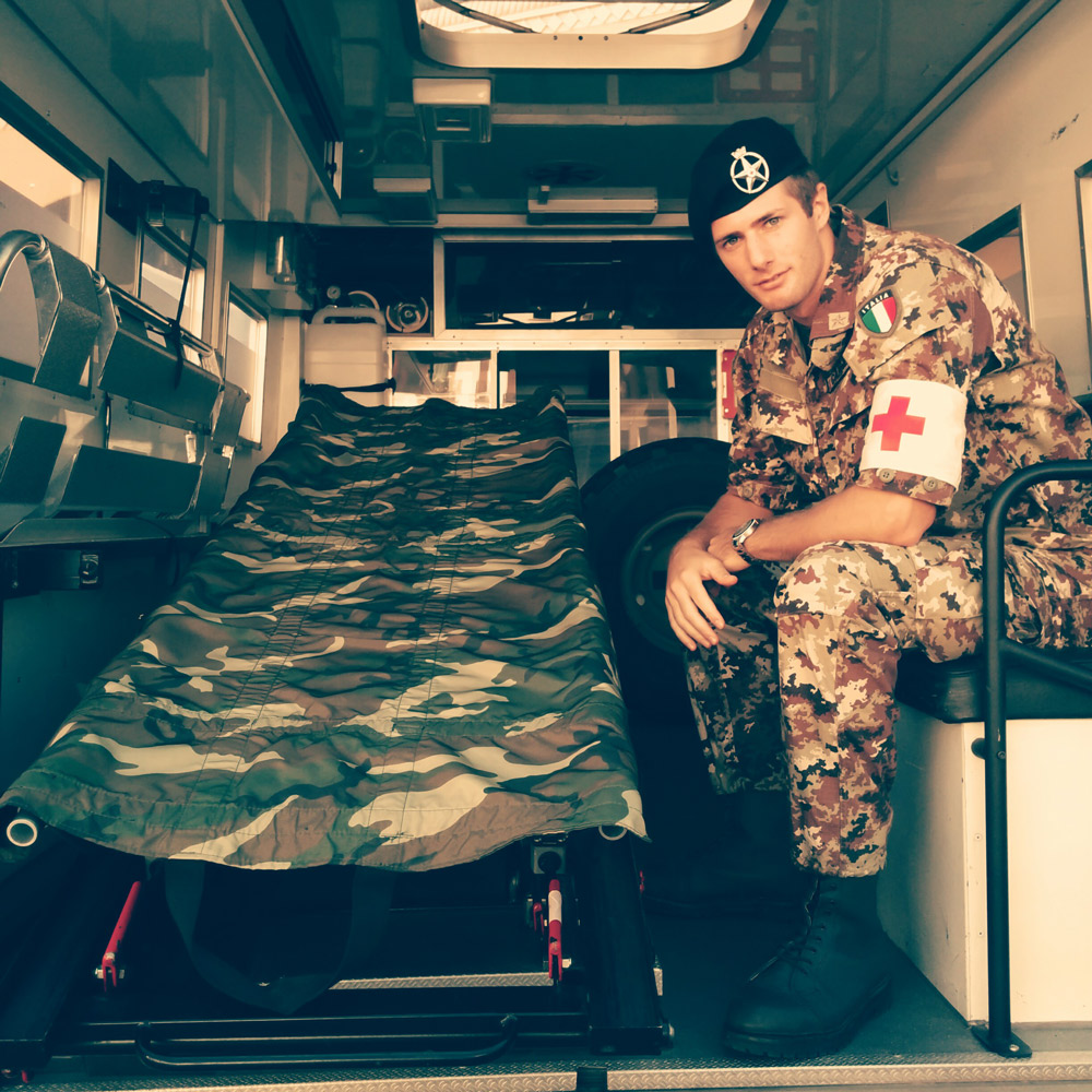 Military Corps of the Red Cross private inside a tactical ambulance