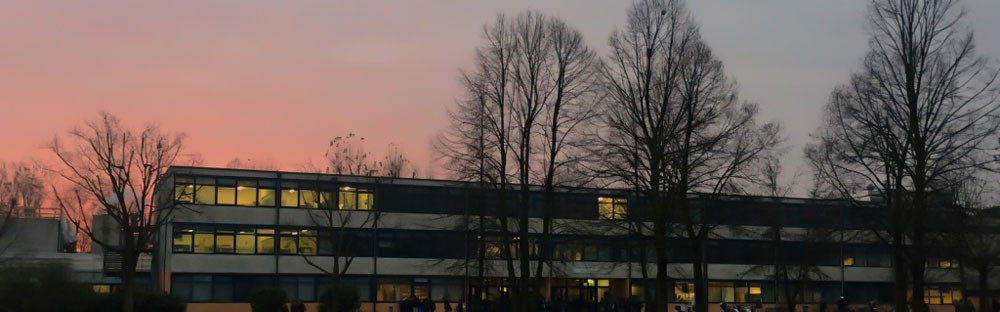 Outlook of Alvise Cornaro high school (Padua, Italy) at sunset.