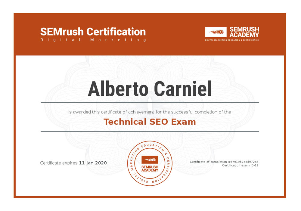 Technical SEO Exam certification