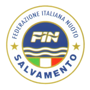 Italian Swimming Federation rescue department square logo on a transparent background