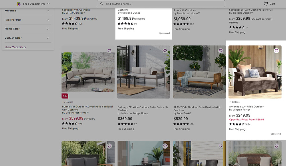 Wayfair Sponsored Products ad example
