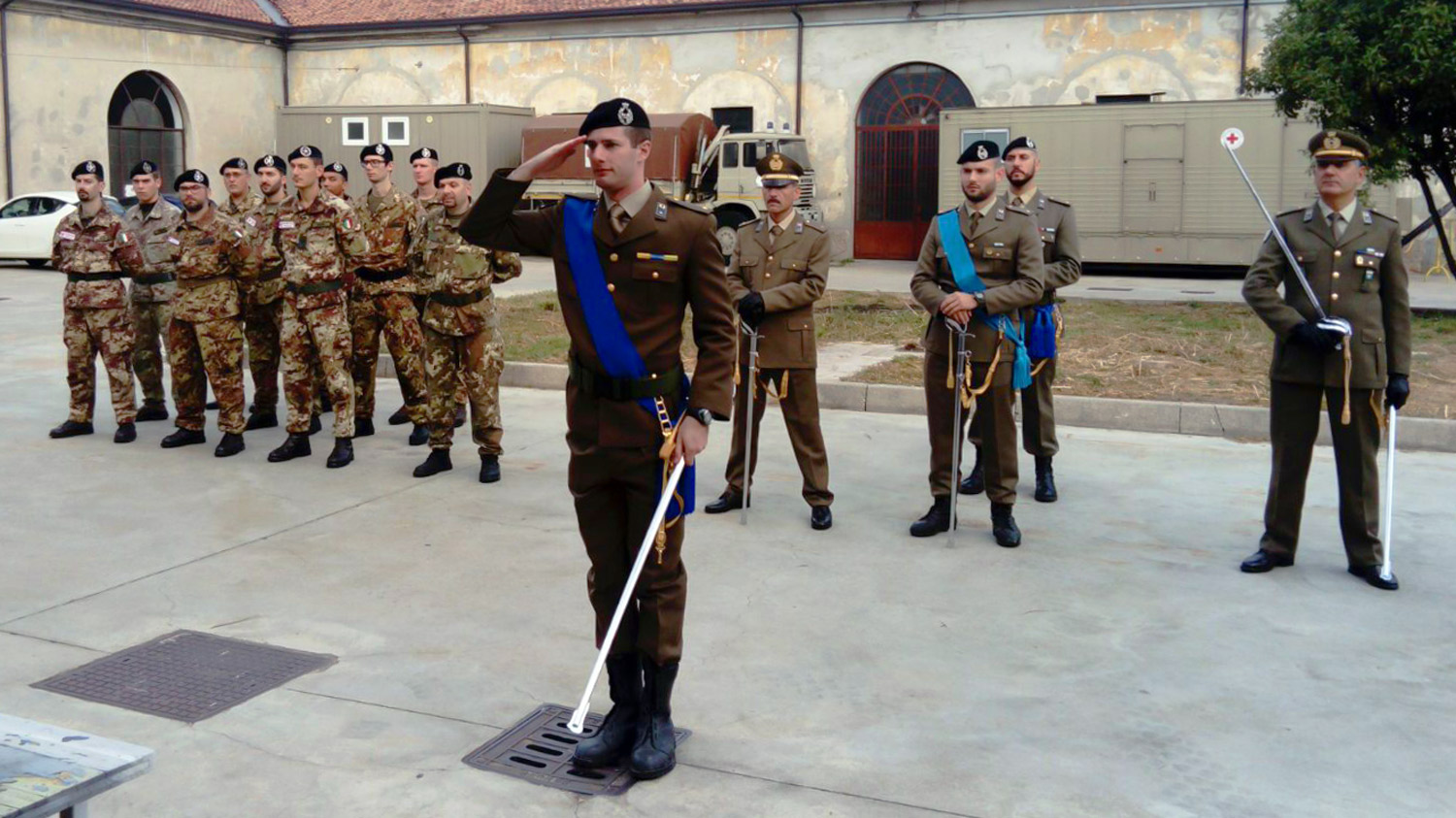 Italian Red Cross army officer with saber during a formal training