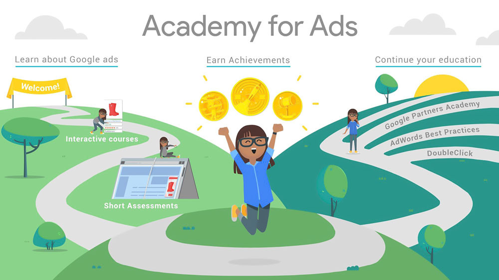 Google Academy for Ads is a web-based platform where you can learn about Google ads, Google partners academy, AdWords best practices and DoubleClick. You can Earn achievements, attain interactive courses and take short assessments.