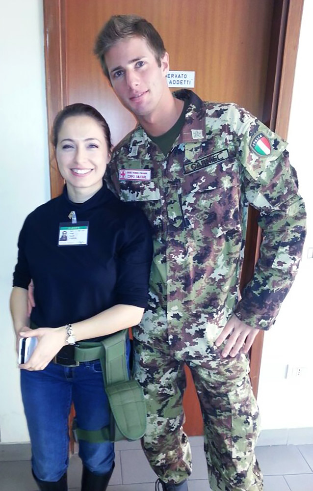 Military Corps of the Red Cross private and a Romanian police officer