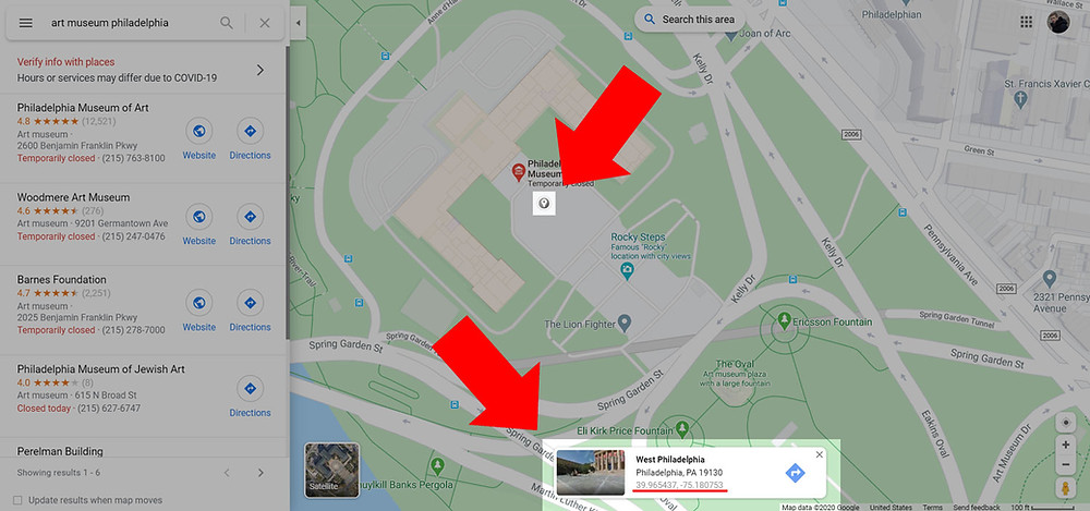 Geographic coordinates of the Art Museum