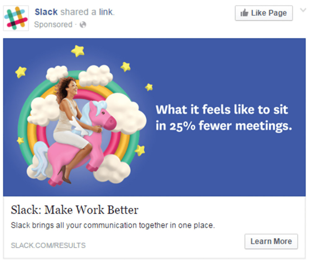 Slack's Facebook ad example