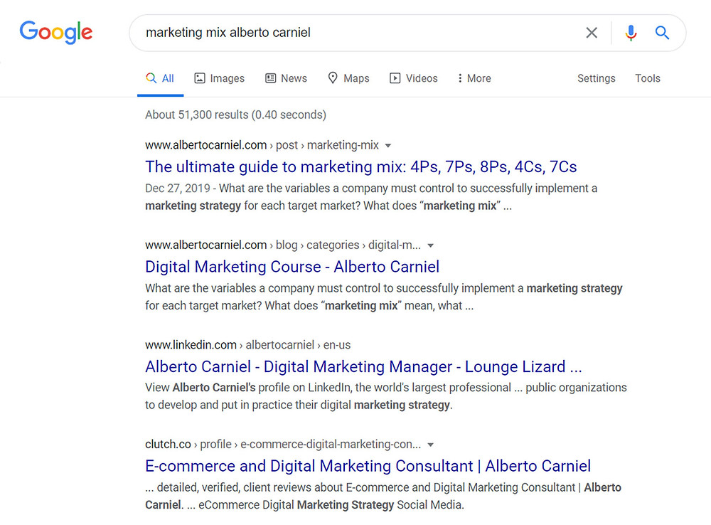 Google SERP without rich results