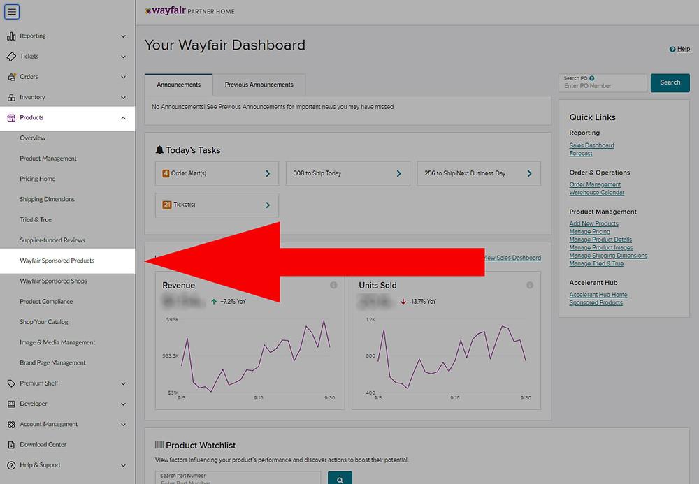 Wayfair Partner Home screenshot