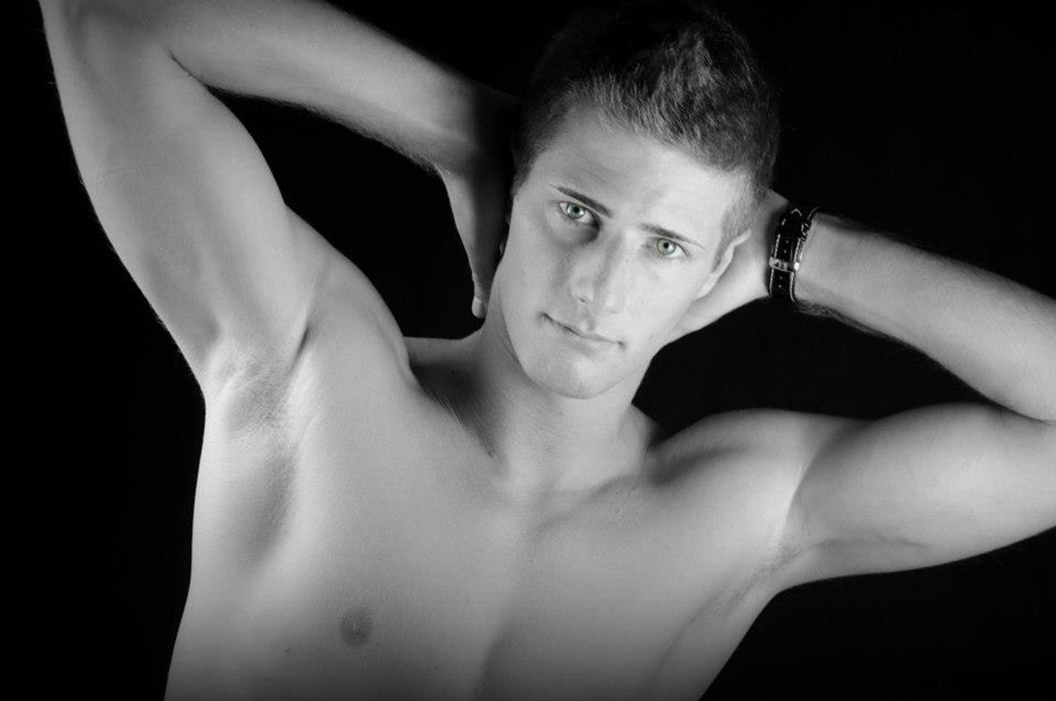 "Italian male model muscular chest at the ""Black and Noir"" photo shoot"