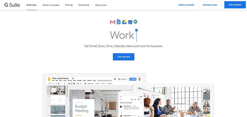 Google G Suite homepage screenshot