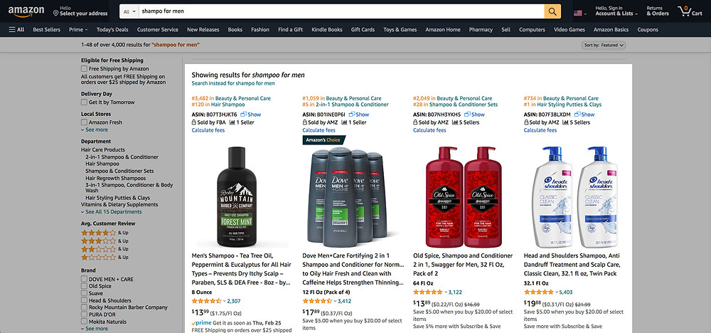 Search for a product on Amazon