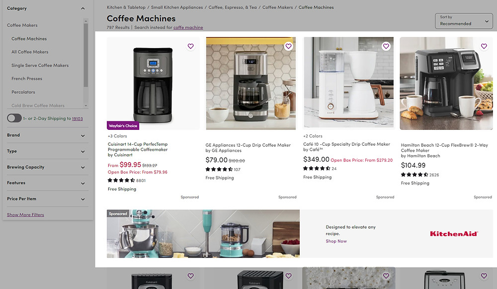 Wayfair Sponsored Products and Shops example