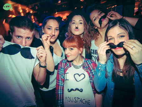 Fishmarket Club entertainment crew during a mustache party theme night