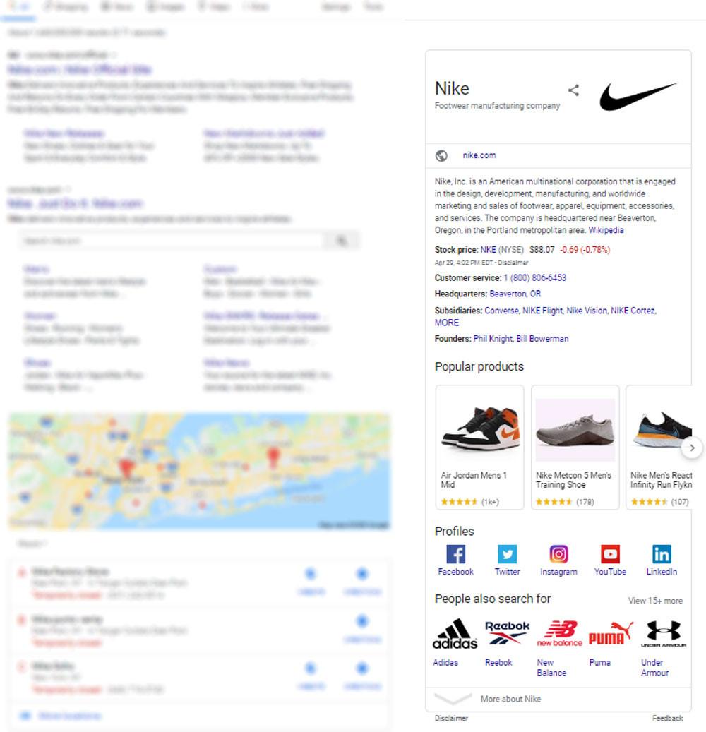Nike's Organization rich snippet